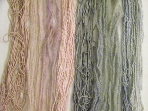 left to right: silk, wool, cotton; re-acidified and not
